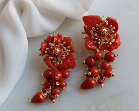Falling Earrings with red Coral paste stones