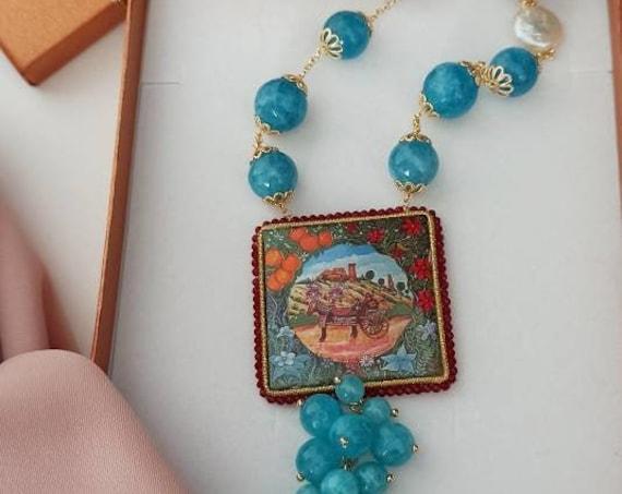 Sicilian Necklace with light blue Jade and Sicily Ceramic tile
