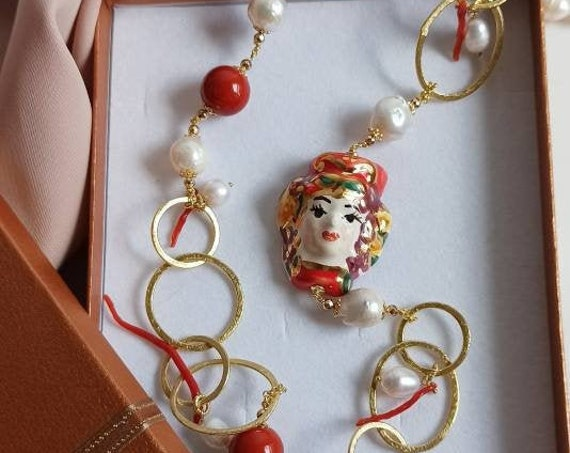 Long necklace with Pearls, Red Stones and Sicily Ceramic Moor