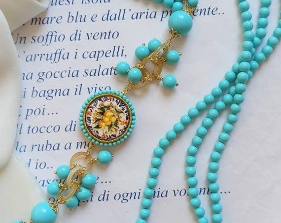 Multi strand necklace with Turquoise Paste Stones and Sicily Ceramic Tiles