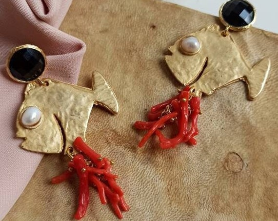 Brass Fish Earrings with Red Coral cluster