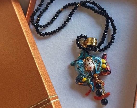 Extra long Necklace with black Crystals and Sicily Ceramic Trinacria