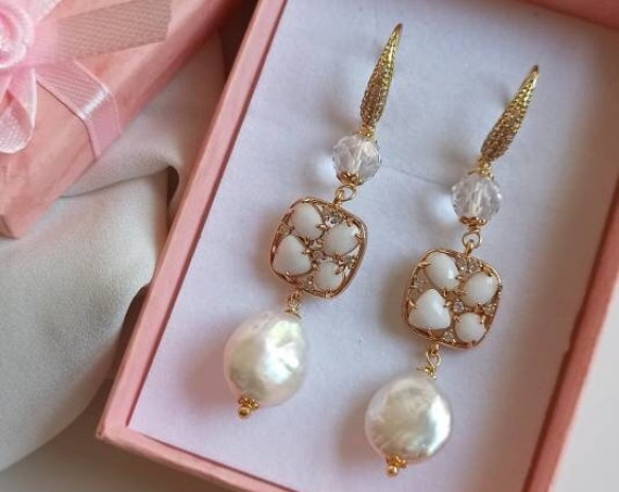 Bridal drop Earrings with Baroque Pearls