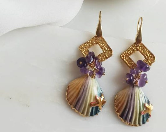 Sicilian Earrings with Sicily Ceramic Shells