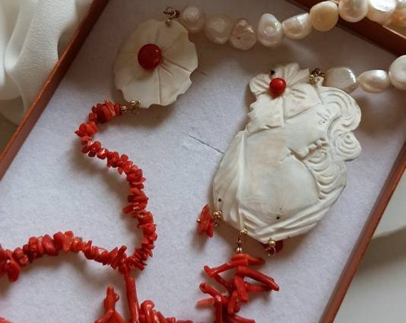 Statement necklace with Freshwater Pearls, Natural Coral and Shell Cameos