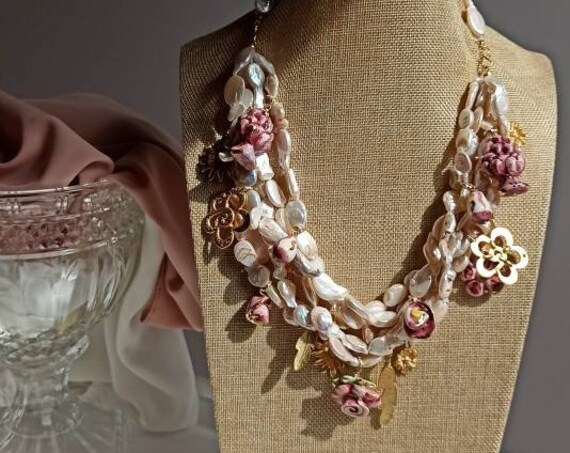 Multi strand pearl necklace with Brass Pendants and Sicily Ceramic Pendants