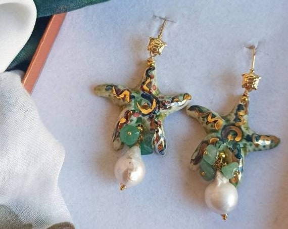 Statement earrings with Sicily Ceramic Starfishes and Baroque Pearls