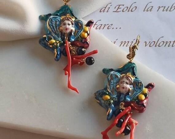 Baroque style Earrings with Sicily Ceramic Trinacria