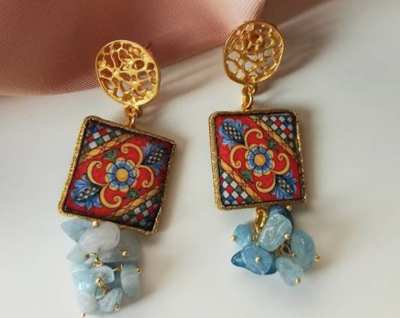 Baroque style Tile Earrings with Aquamarine chips