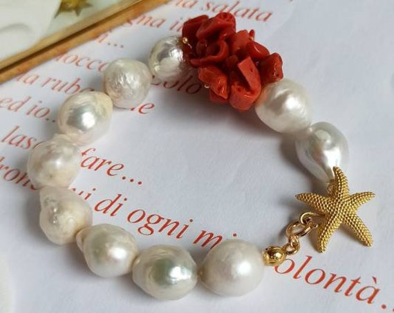 Baroque Pearl Bracelet with Mediterranean Coral chips