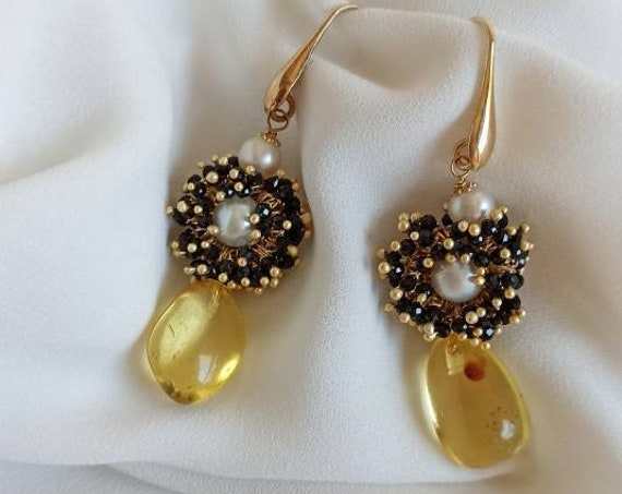 Drop Earrings with Amber stones and Black Spinel flower