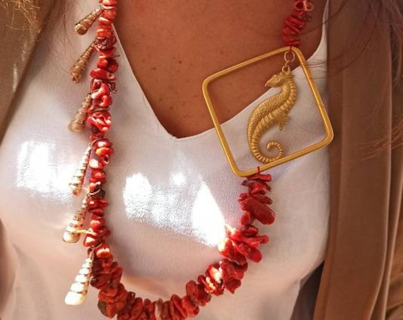 Long Necklace with Mediterranean Coral chips, gold seahorse and shells