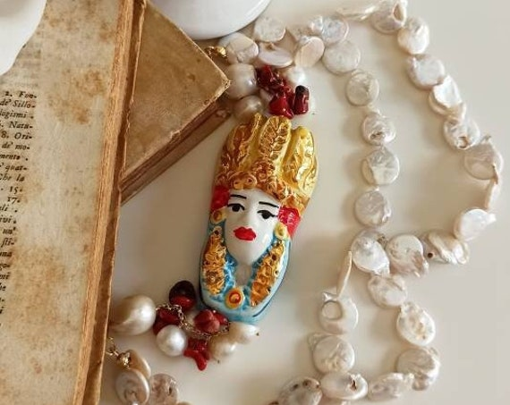 Double strand necklace with flat Pearls and Sicily Ceramic Moor head