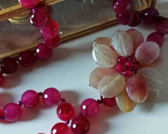Hot Pink stone necklace with flower