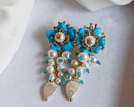 Falling Earrings with Pearl cluster and Turquoise chips