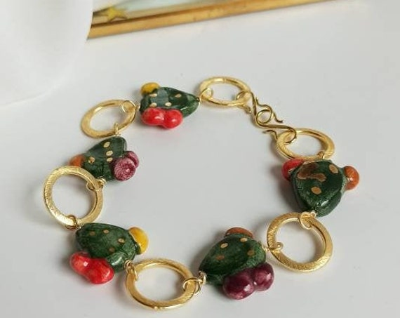 Sicilian Bracelet with Brass Chain and Sicily Ceramic Prickly Pears