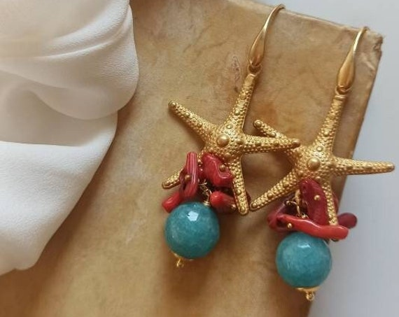 Statement earrings with Brass Starfishes and light blue Jade stones