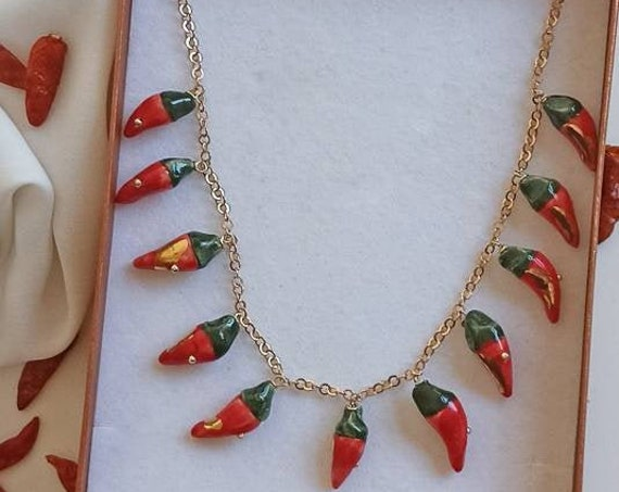 Gold chain necklace with Sicily Ceramic peppers