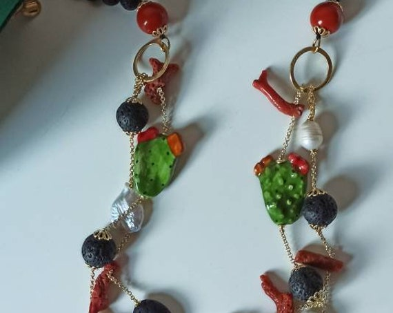 Long necklace with Lava stones, Baroque Pearls, Red Coral Branches and Sicily Ceramic Prickly Pears