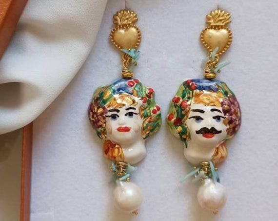 Sicily Moor head earrings with Baroque Pearls