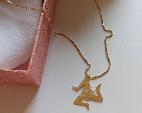 Gold chain necklace with Sicilian Trinacria Pendant
