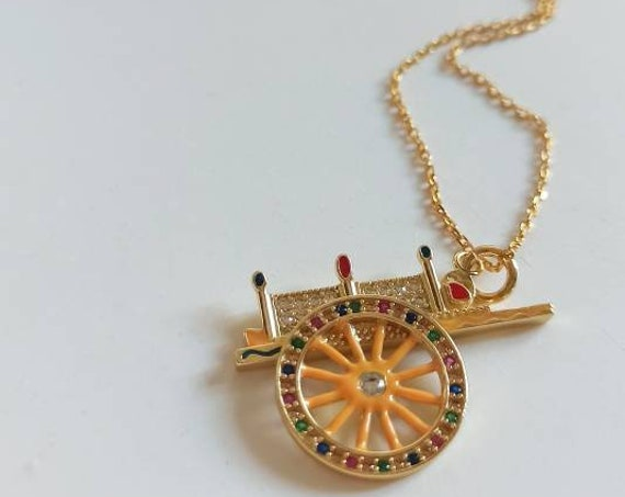 Gold chain necklace with Sicilian Cart Pendant