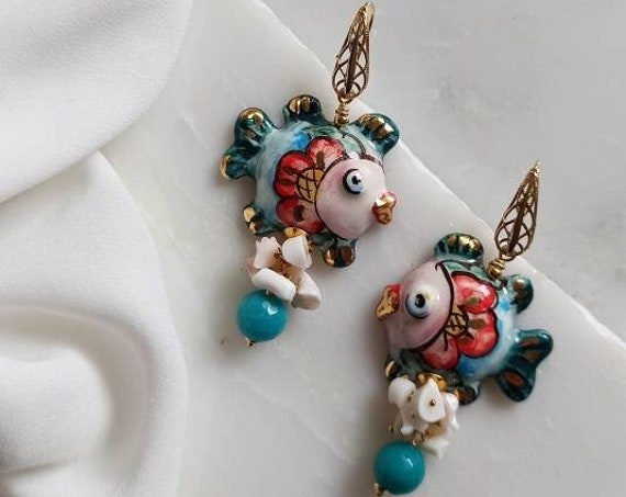 Sicilian Earrings with Sicily Ceramic Fishes