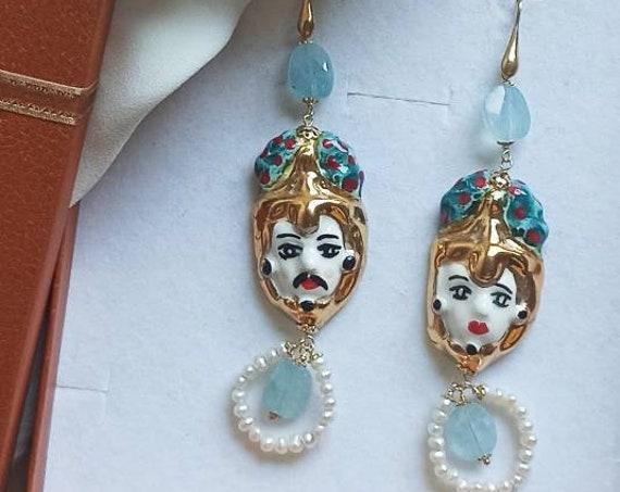Sicily Ceramic Head Earrings with Aquamarine