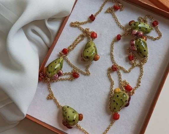 Extra long chain necklace with Sicily Ceramic Prickly Pearls