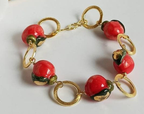Sicilian Bracelet with Brass Chain and Sicily Ceramic Apples