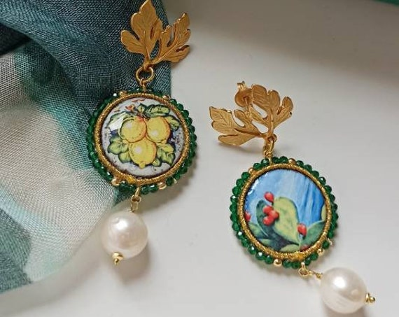 Sicilian Tile Earrings with Baroque Pearl drops