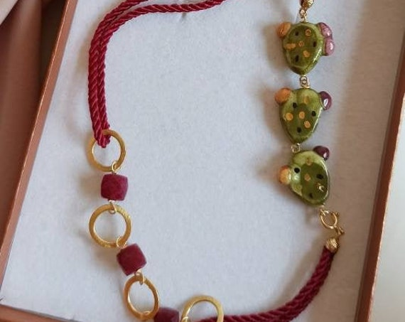 Double rope necklace with Sicily Ceramic Prickly Pears