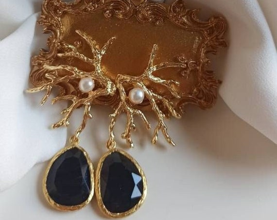 Coral Branch Earrings with black drops