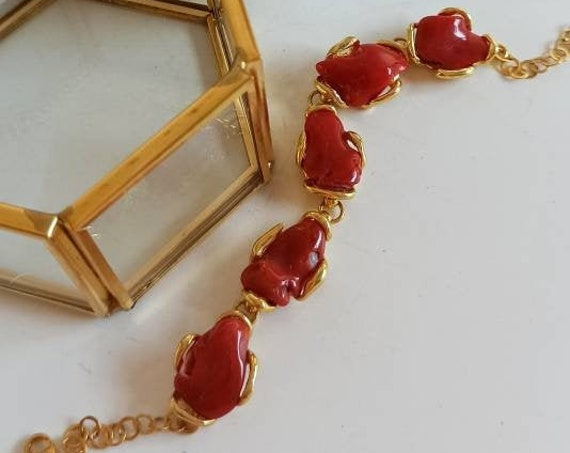 Gold plated 925 Sterling Silver Bracelet with red Natural Coral
