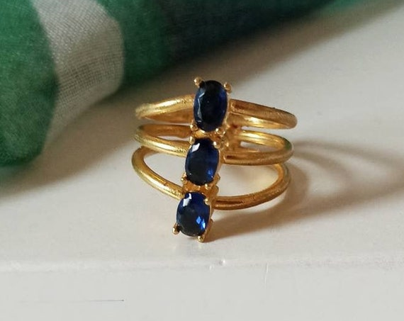 Triple Ring with Blue Crystals