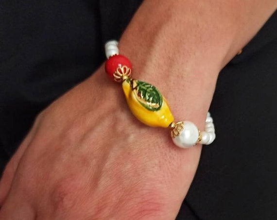 Pearls Bracelet with Sicily Ceramic Lemon