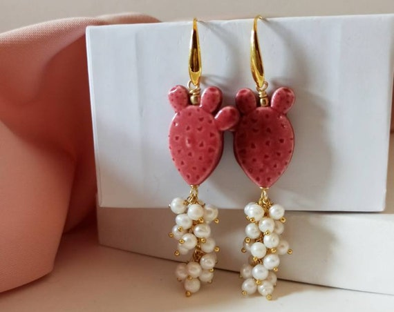 Pearl Cluster Drop Earrings with Sicily Ceramic Prickly Pear