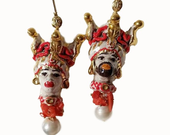 Sicilian Moor Head Earrings with Baroque Pearls