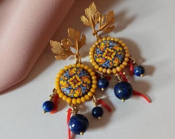 Chandelier Earrings with Sicily Ceramic Tiles and Lapis stones
