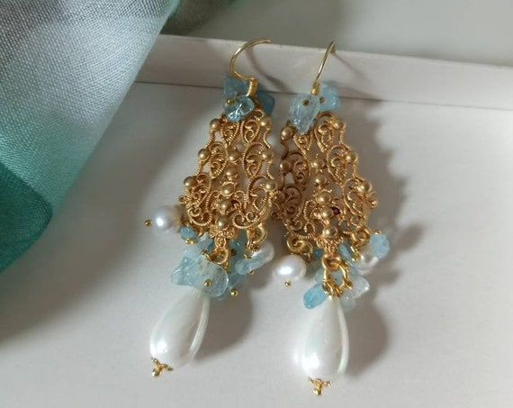 Chandelier Earrings with Mallorca Pearl Drops and Aquamarine Chips