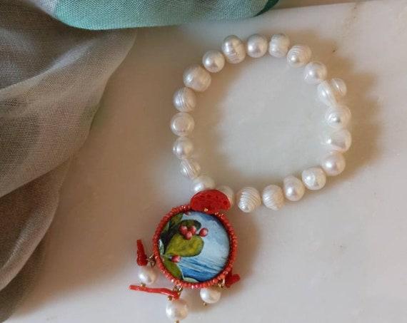 Pearl Bracelet with Sicily Ceramic tile