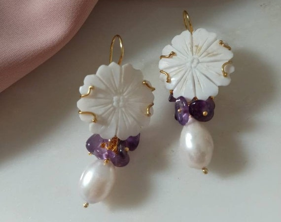 Floral Shell Cameo bridal Earrings with Baroque Pearls