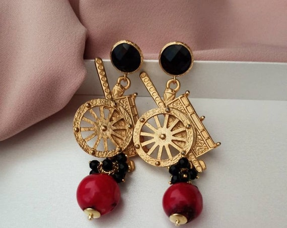 Sicilian Earrings with Sicily Cart and Baroque Red Bamboo Coral