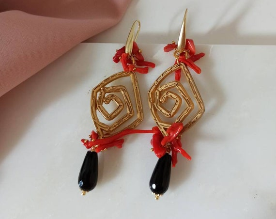 Statement Earrings with Onyx drops and Coral branches