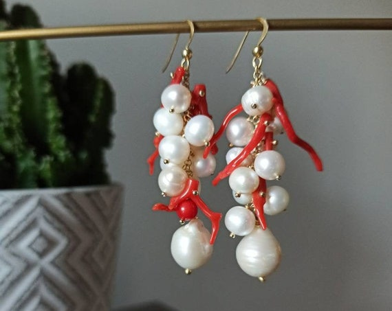 Pearl and Coral cluster earrings