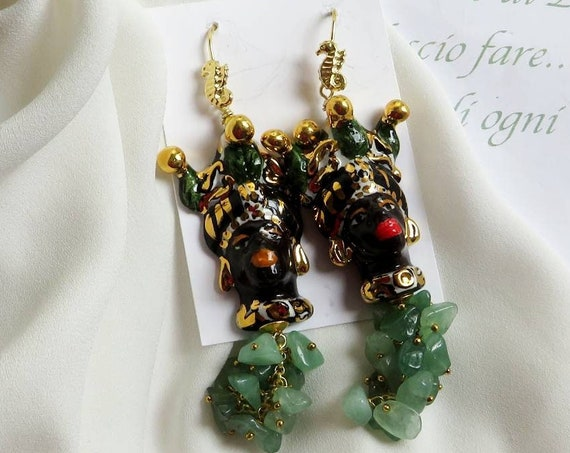 Sicilian Moor Head Earrings with green cluster