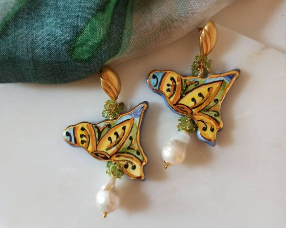 Baroque style Earrings with Sicily Ceramic and Baroque Pearls
