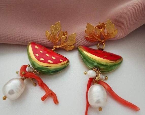 Sicily ceramic Watermelon earrings