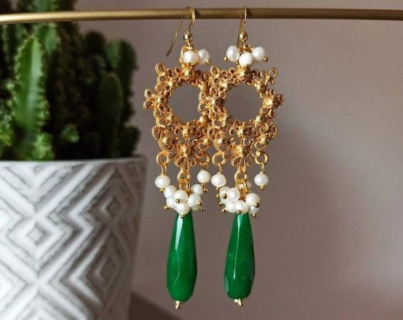 Chandelier Earrings with Green Drops