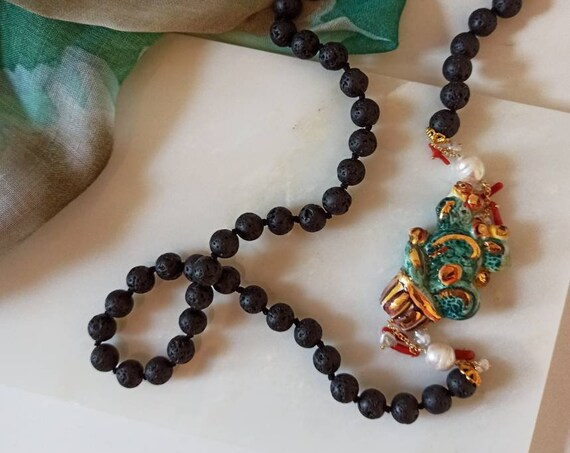 Long black necklace with lava rock and sicily ceramic Prickly Pear
